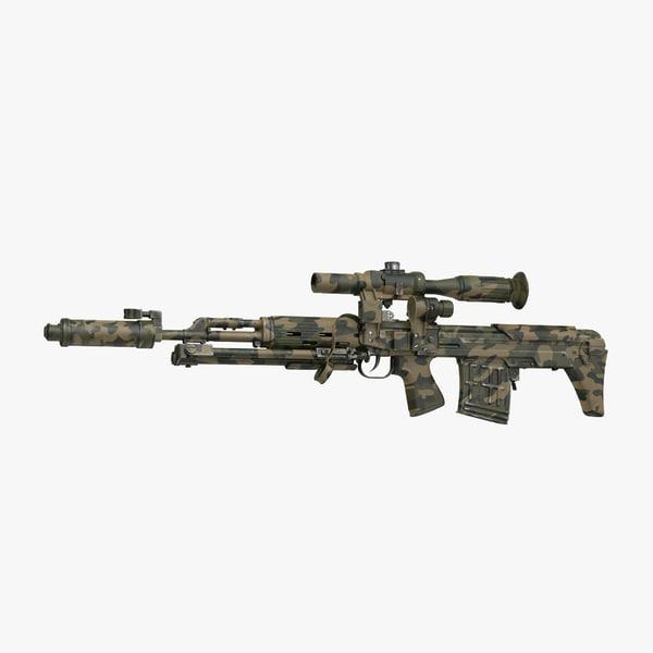 3d russian sniper rifle dragunov