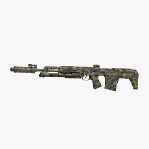 russian sniper rifle dragunov 3d 3ds
