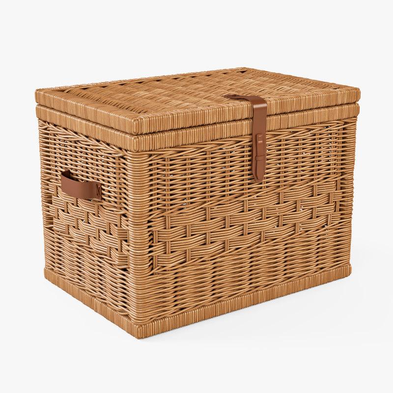 3d wicker storage trunk oat model