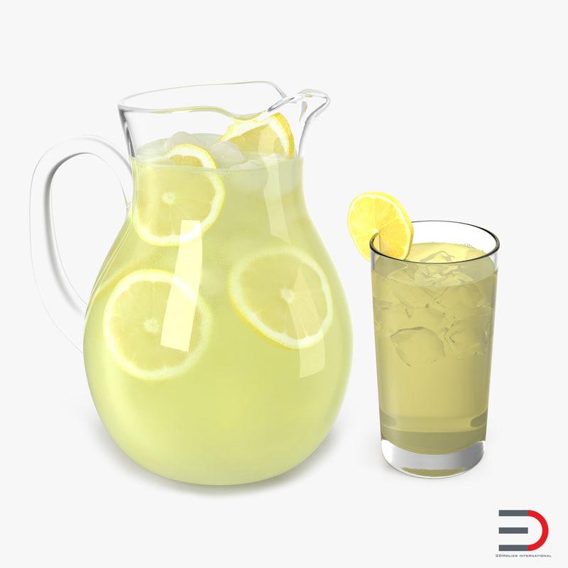 3d lemonade set pitcher model