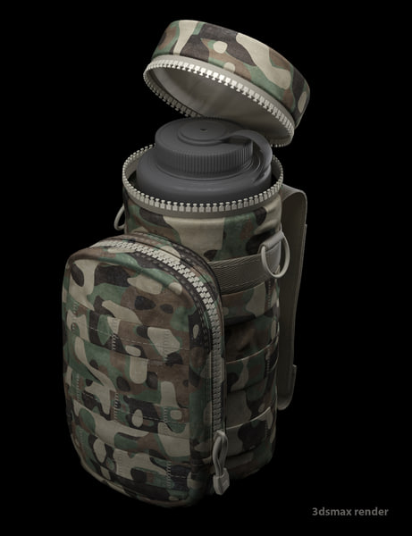 3d model water bottle pouch military camouflage