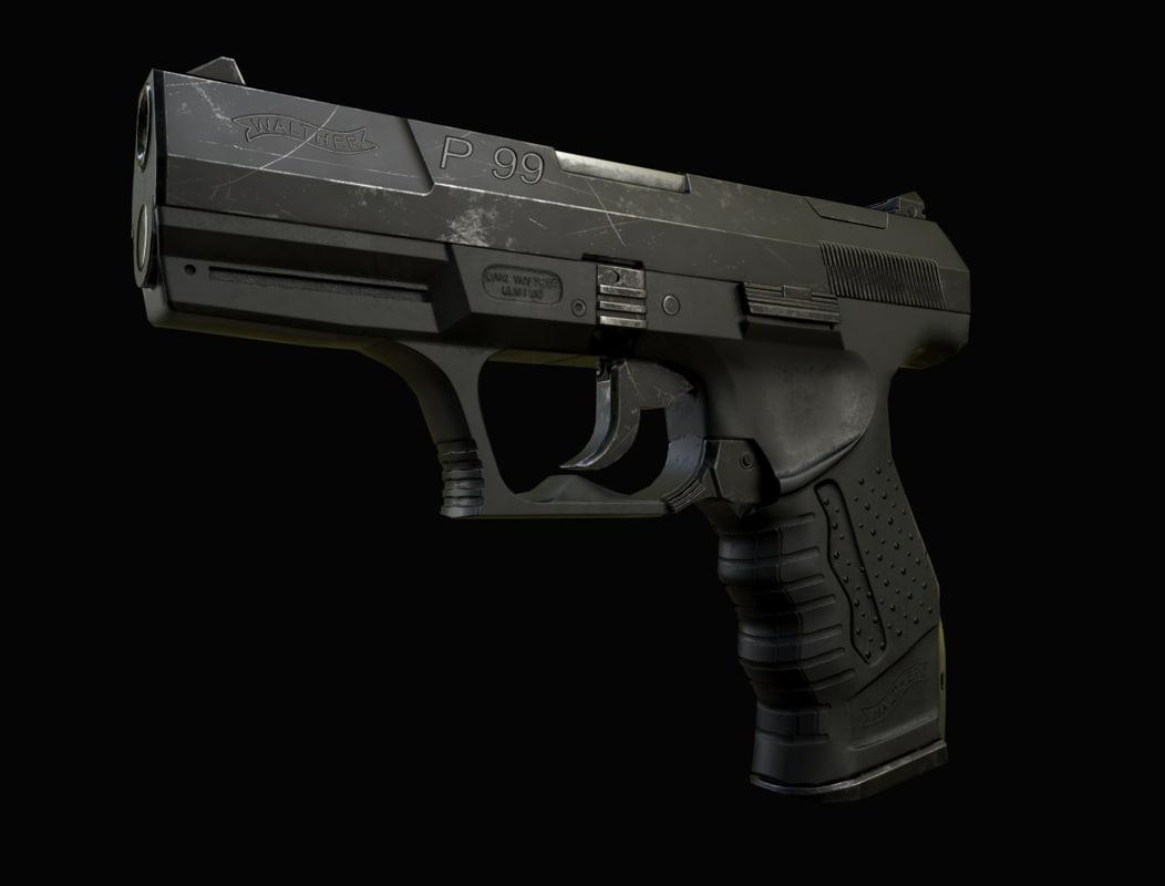 3d model p99 handgun