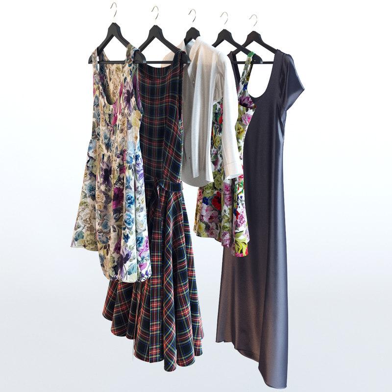 3d set clothing hangers model