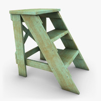 3ds realistic antique ladder green