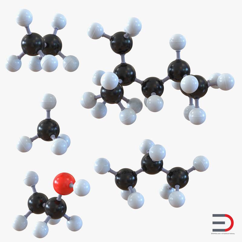 molecules set ethane 3d model