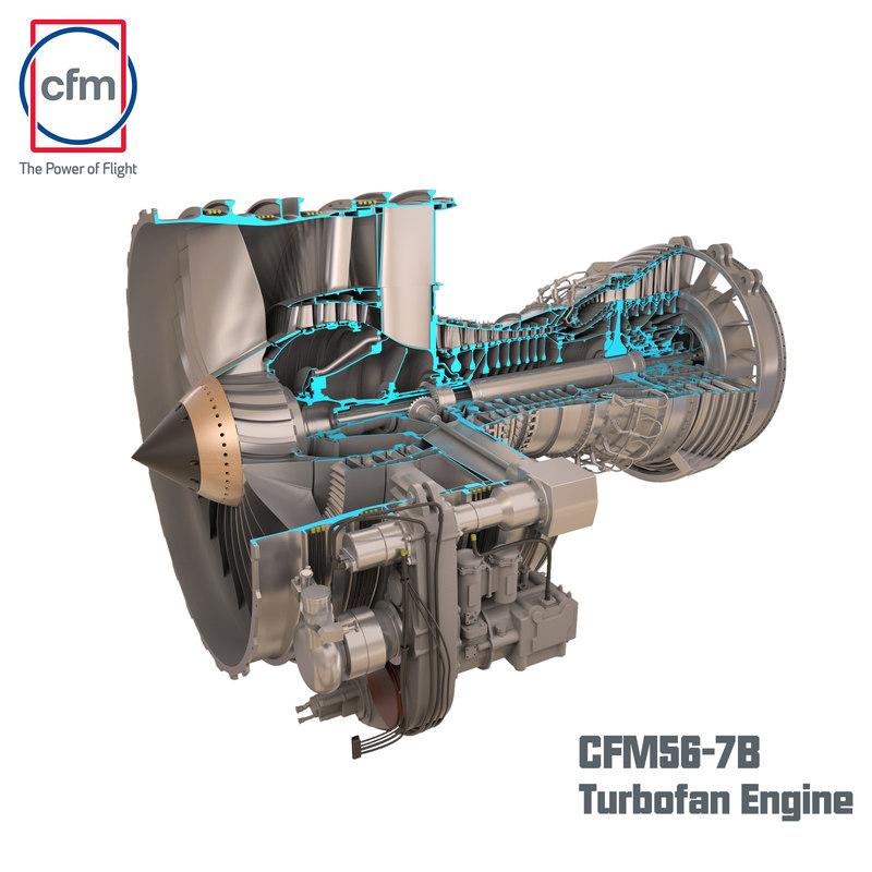 c4d cfm56-7b engine turbofan half-cutaway