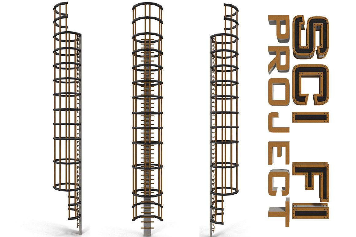 sci fi stair vertical 3d model