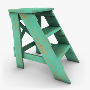 3ds realistic antique ladder turquoise