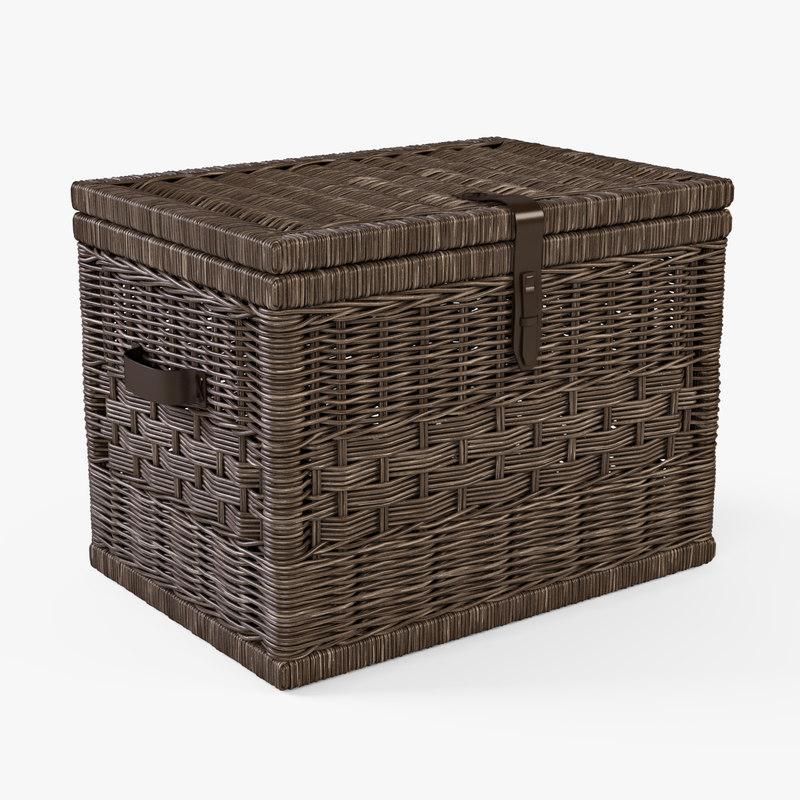 3d x wicker storage trunk brown