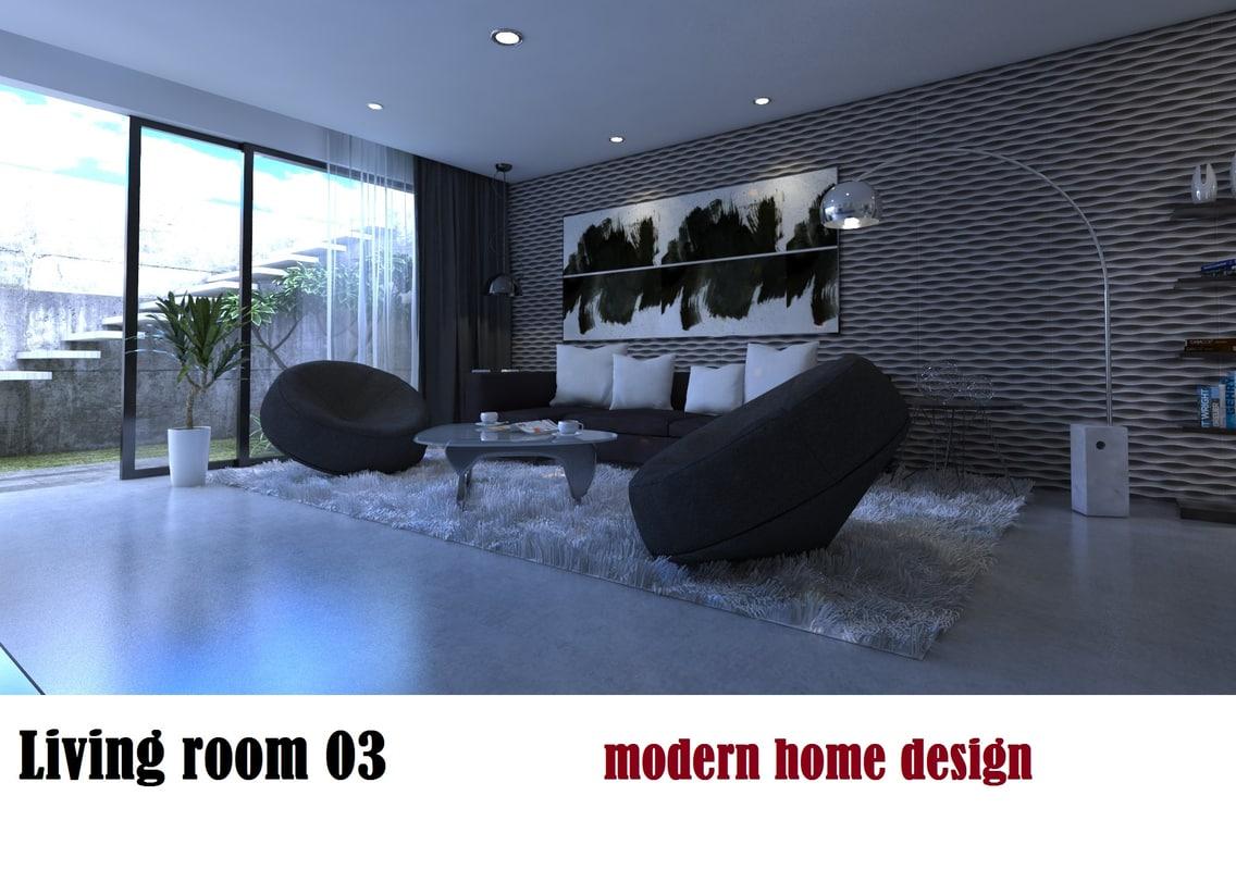 modern interior living room 3d 3ds