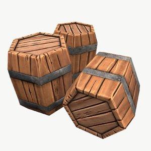 free obj mode stylized low-poly barrel