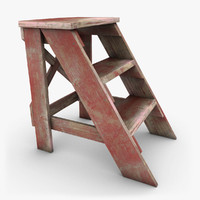 3d realistic antique ladder red model