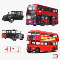 London Bus and Taxi Rigged Vehicle Set 2