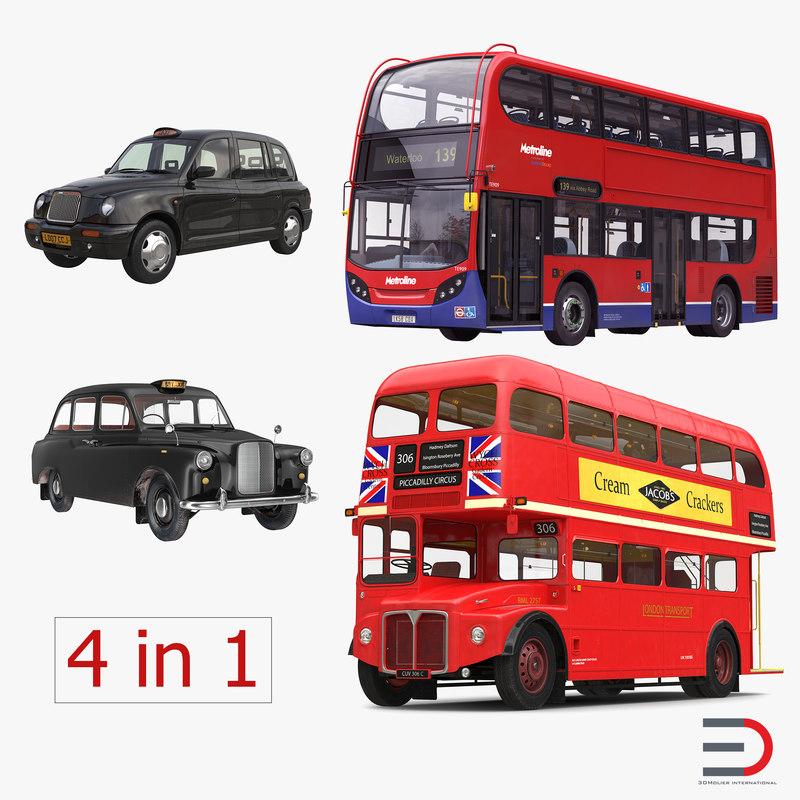 3d model london bus taxi vehicle