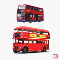london buses rigged bus 3d model