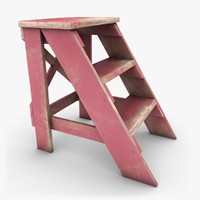 realistic antique ladder pink 3d 3ds