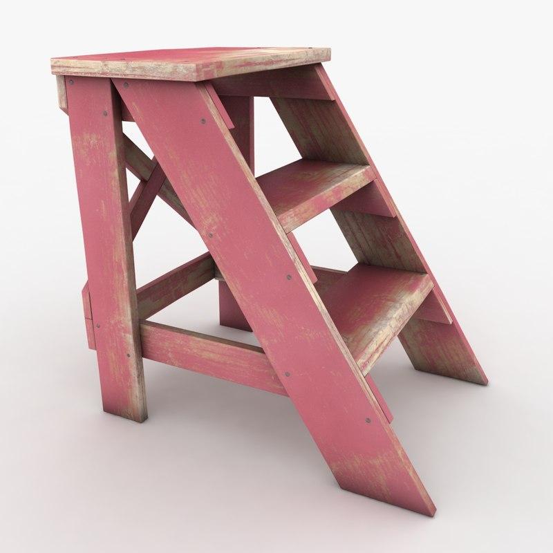 realistic antique ladder pink 3d 3ds