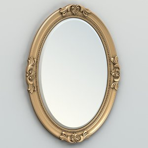 carved oval mirror frame 3d max