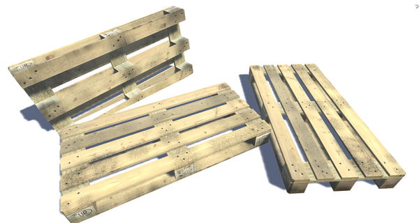 3ds wooden pallet euro sized