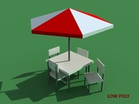 LOW POLY umbrella and chairs set