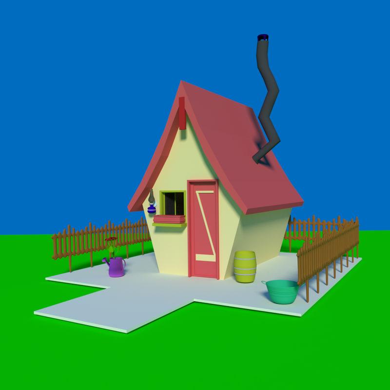 cartoon village house 3d 3ds