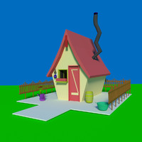 cartoon village house 3d 3ds