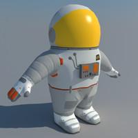 3d model low-poly cartoon astronaut