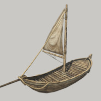 realistic medieval sail boat 3d model
