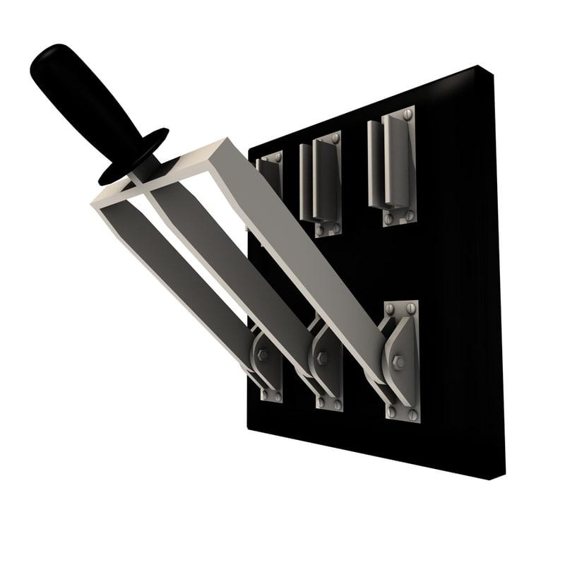 realistic knife switch triple 3d model
