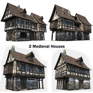 3d model 2 medieval houses