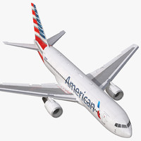 Boeing 767-200 American Airlines Rigged 3D Model