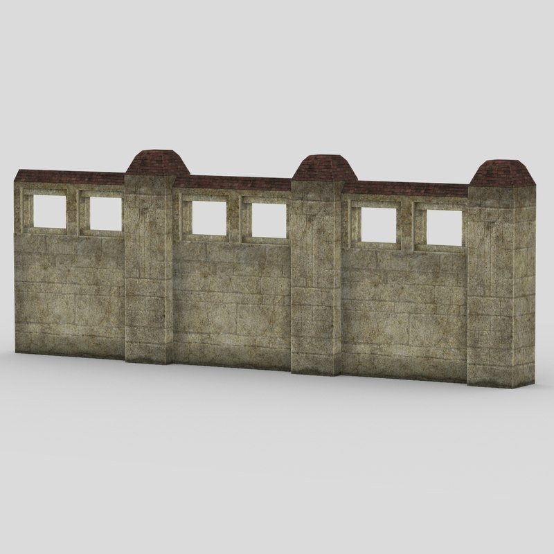 fence wall 3d max