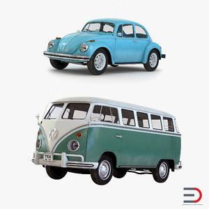 retro volkswagen cars 3d 3ds