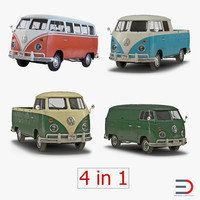 Volkswagen Type 2 Simple Interior 3D Models Collection