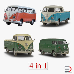 3d volkswagen type 2 simple