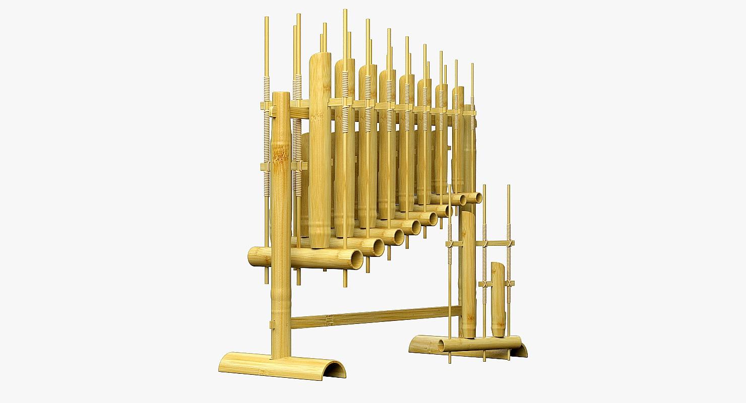 3d angklung musical instrument model