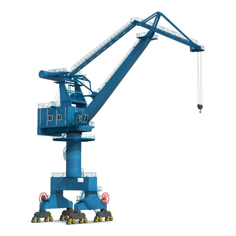 3d model level luffing port crane