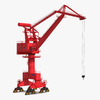 level luffing port crane 3d max