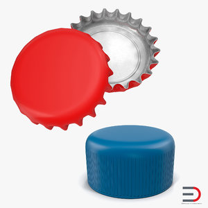 3d 3ds bottle caps 2 modeled