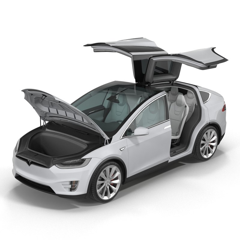 3d tesla x rigged modeled model