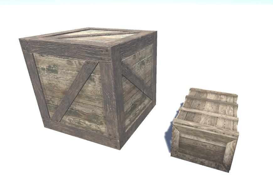 wooden crates fbx