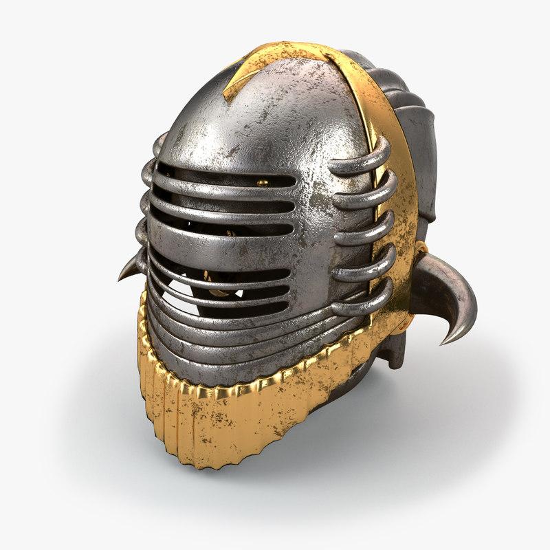 medieval helmet v2 3d model