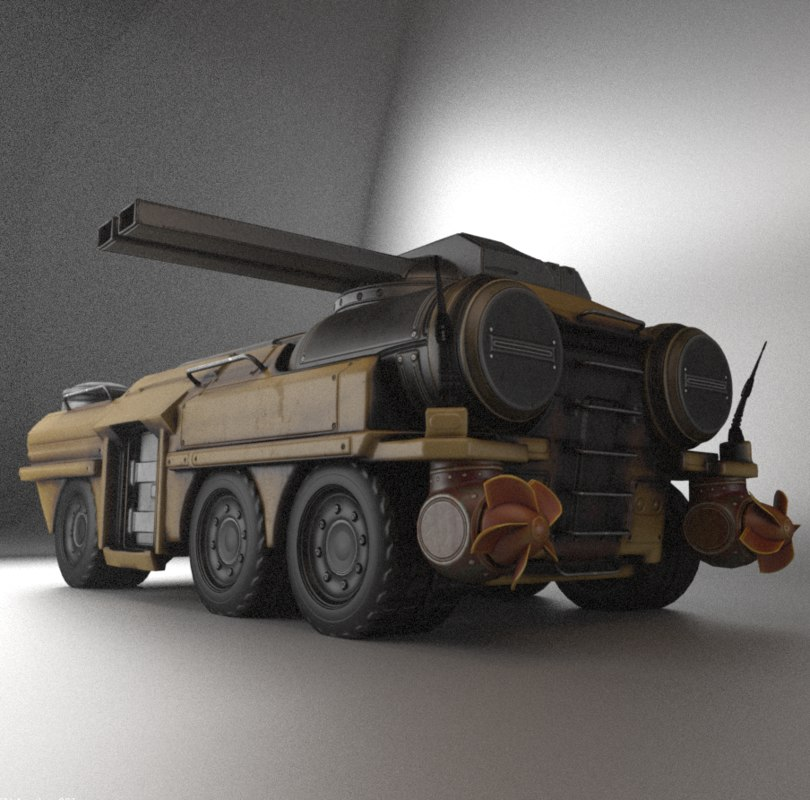 amphibious tank rigging 3d 3ds