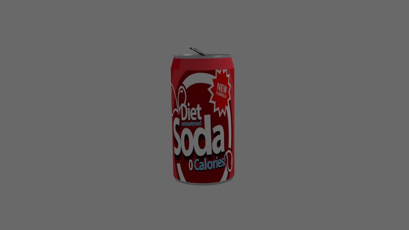 3d model of realistic soda