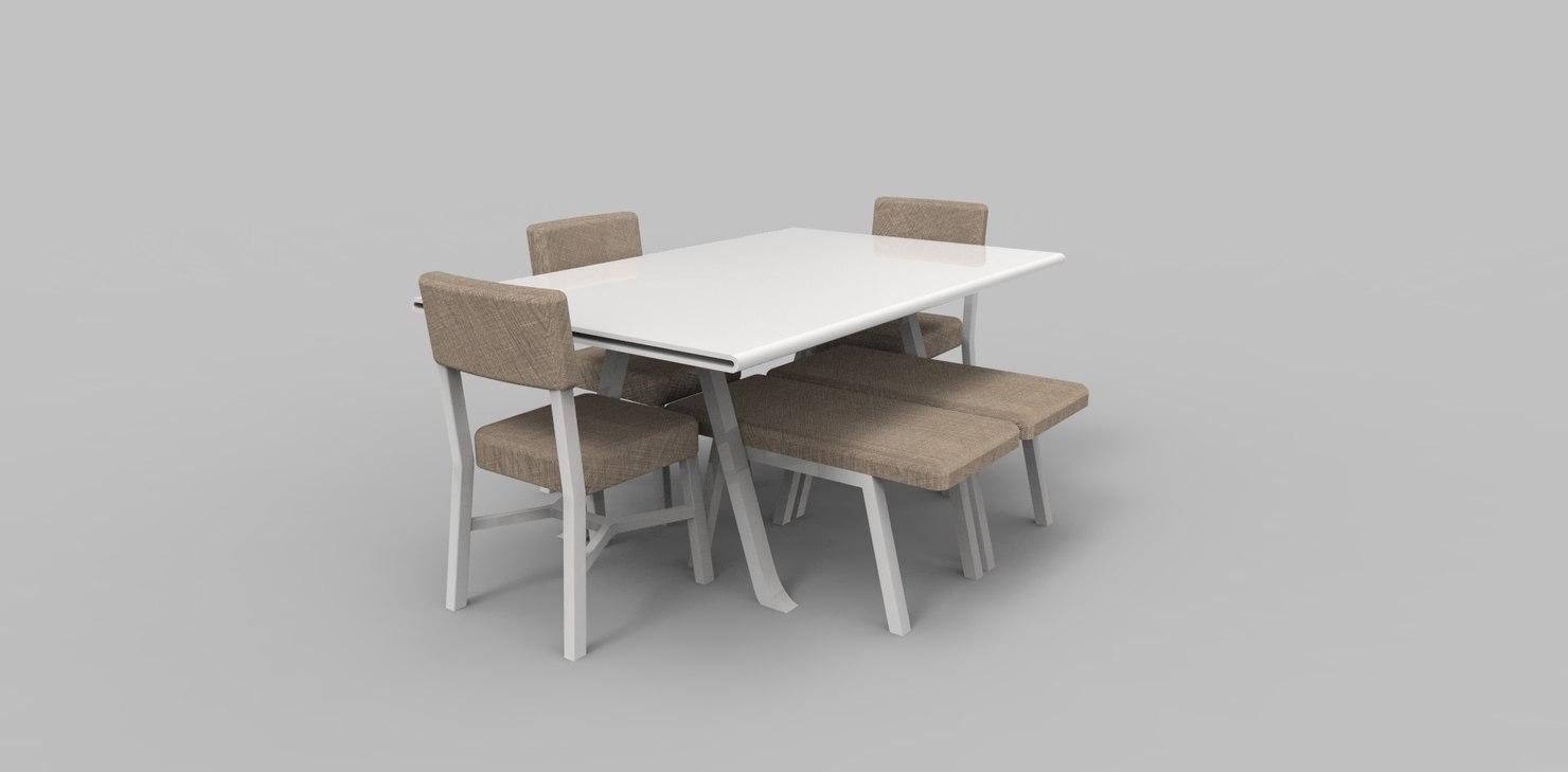 dining table set 3d fbx