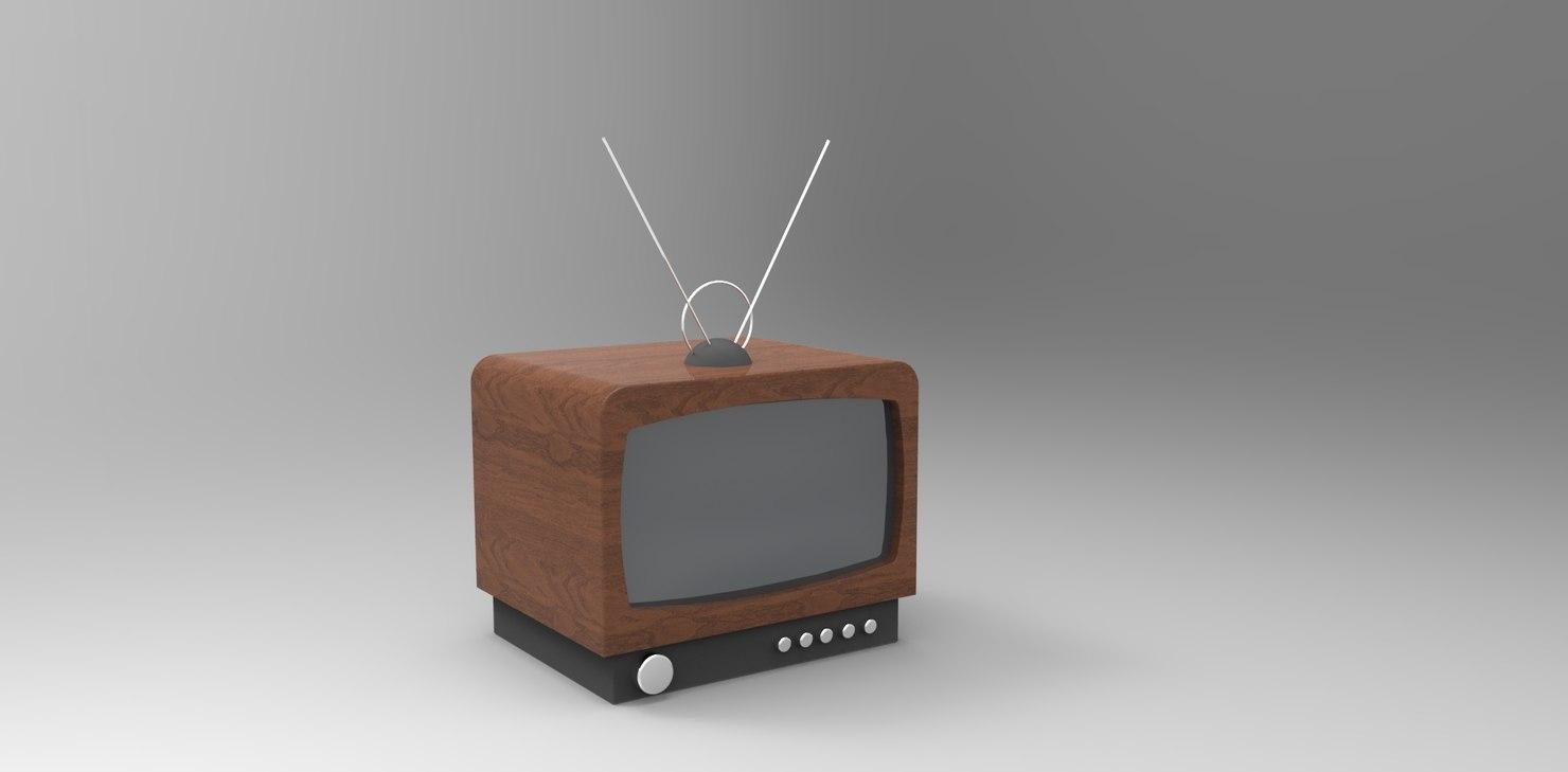 vintage tv 3d obj