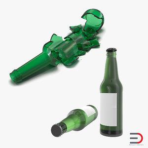 3d 3ds beer bottle broken new