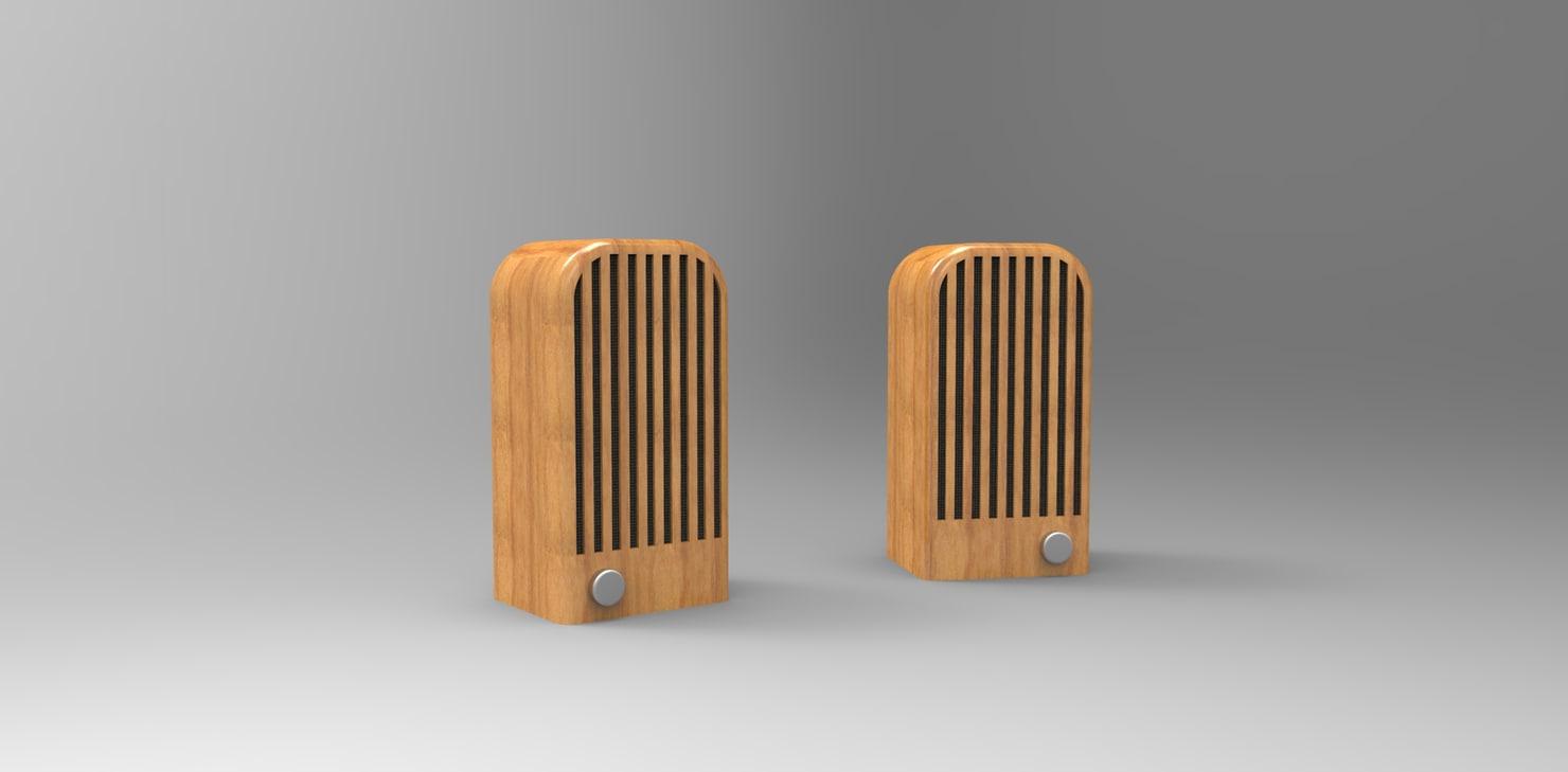 free vintage speaker 3d model