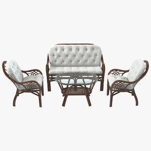 3d roma rattan furniture set model