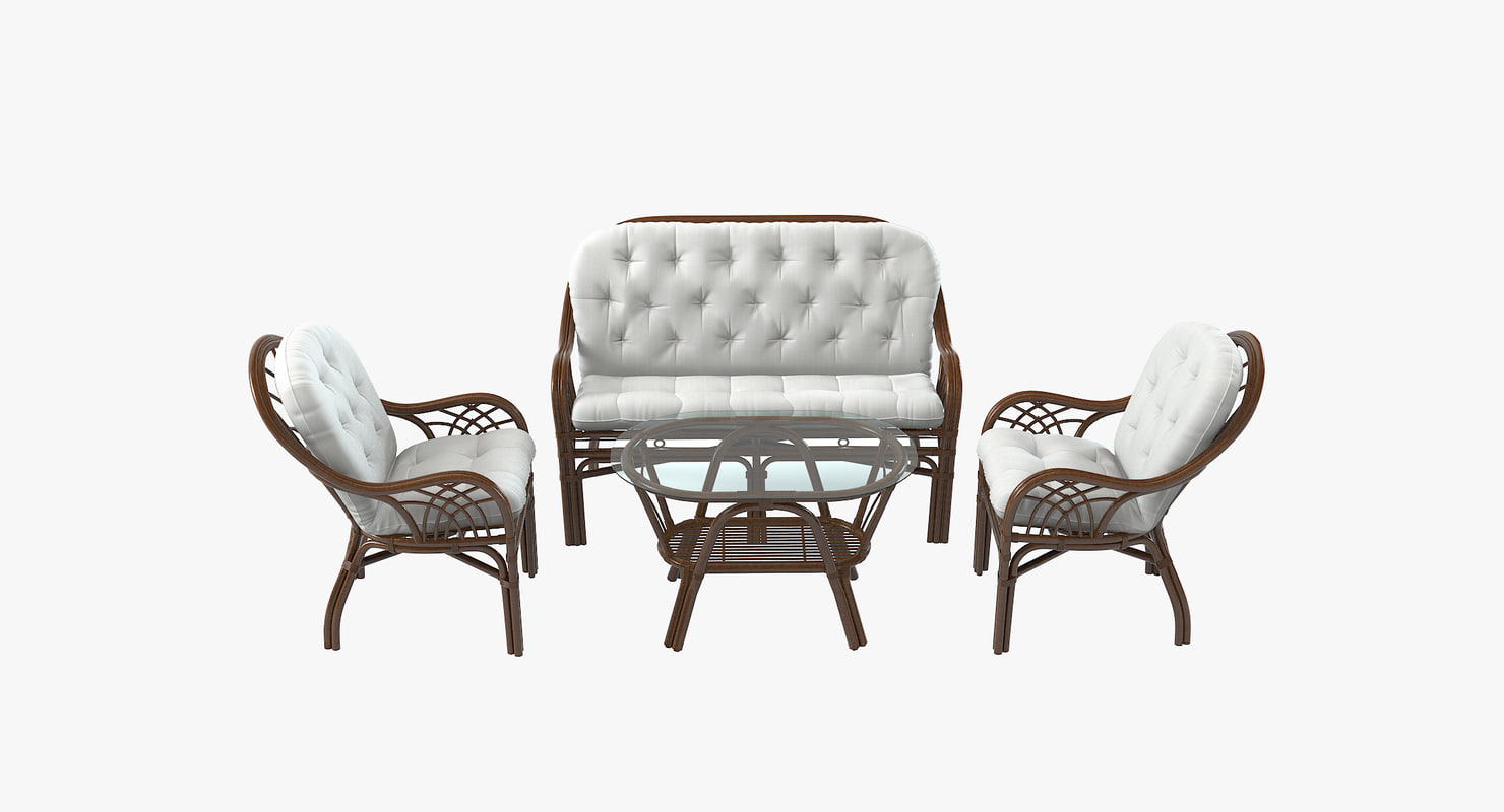 3d roma rattan furniture set model
